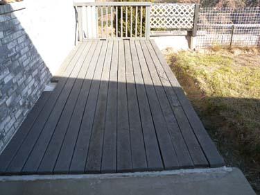 A composite deck flaking due to delamination.