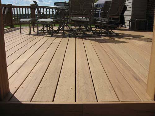A moldy composite deck.