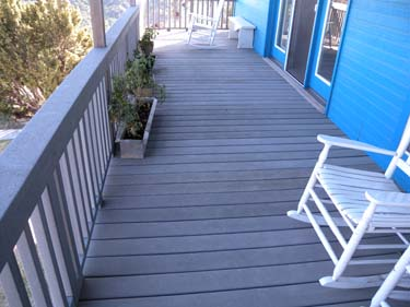 A stained composite deck.